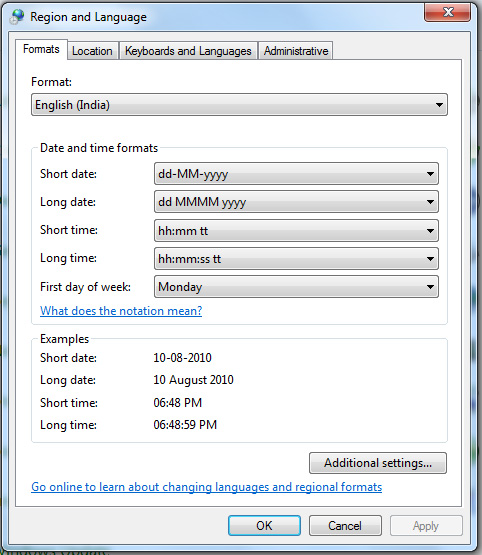 How to Change System Tray Time format to AM/PM in Windows 7