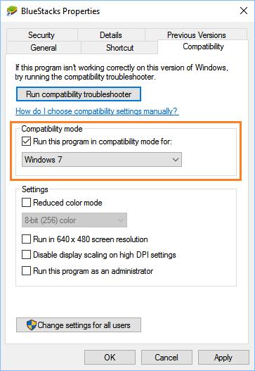 windows compatibility mode